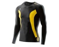 Футболка с длинным рукавом мужская Skins DNAmic Mens Top Long Sleeve Black/Citron