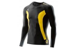 Футболка с длинным рукавом мужская Skins DNAmic Mens Top Long Sleeve Black/Citron, Компрессионные футболки - в интернет магазине спортивных товаров Tri-sport!