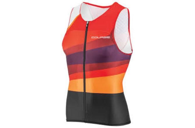 Louis Garneau  TRI COURSE TRI SLEEVELESS TOP MULTI RED / Стартовый топ мужской, Стартовые костюмы - в интернет магазине спортивных товаров Tri-sport!