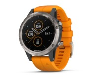 Garmin Fenix 5 Plus Sapphire Titan Оранжевый / Смарт-часы беговые с GPS, HR и Garmin Pay