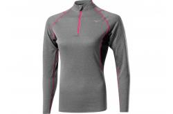 Mizuno WooL H/Z (W) / Терморубашка на молнии женская, Серый/Розовый, Термобелье - в интернет магазине спортивных товаров Tri-sport!